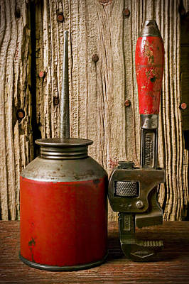Oil Can Photograph - Old Oil Can And Wrench by Garry Gay