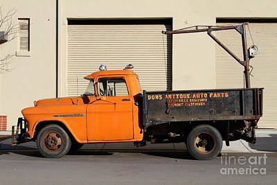 Old Orange American Chevy Chevrolet 3600 Truck . 7d12735 Art Print by Wingsdomain Art and Photography