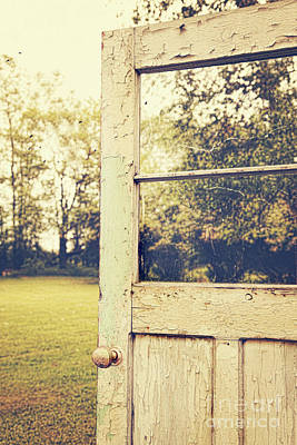 Halloween Photograph - Old Peeling Door With Landscape by Sandra Cunningham