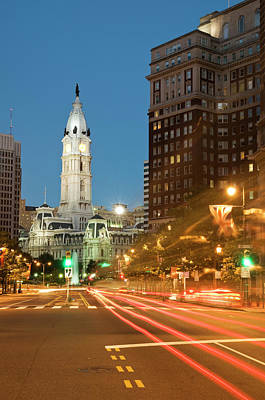 Benjamin Franklin Parkway Photograph - Old Philadelphia City Hall At Night by Travelif
