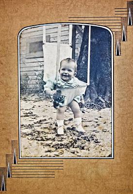 Old Photo Of A Baby Outside Art Print by Susan Leggett