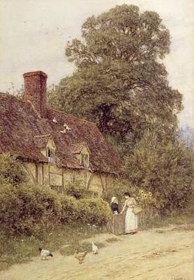 Country Painting - Old Post Office Brook Near Witley Surrey by Helen Allingham