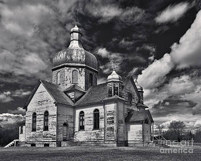 Byzantine Photograph - Old Prairie Church And Storm Front by Royce Howland