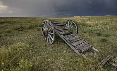 Old Prairie Wheel Cart Saskatchewan Print by Mark Duffy