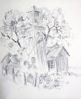Cabin Window Drawing - Old Ranch Tower by Bill Joseph  Markowski