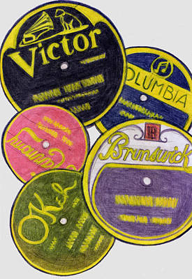 Disc Drawing - Old Record Labels by Mel Thompson