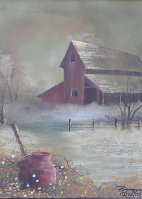 Milk Can Painting - Old Red Barn by Reggie Jaggers