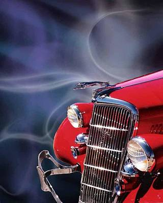 Old Red Hotrod Art Print by Diana Shively