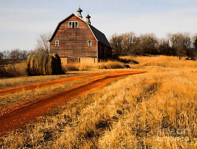 Old Red Road And Barn Art Print