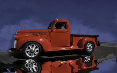 Old Red Truck Art Print by Judy Deist