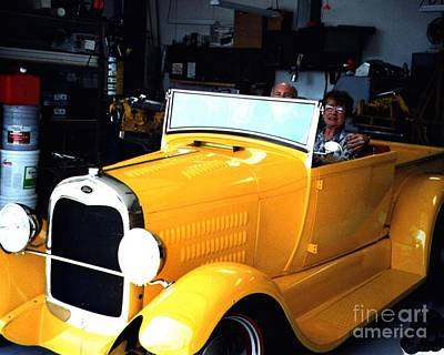 Photograph - Old Restored Yellow Ford by Merton Allen