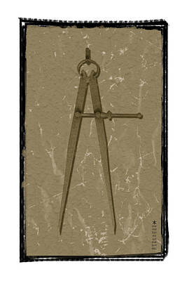Old Rusted Adjustable Compass Art Print by Steeve Dubois