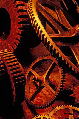 Old Rusty Gears Print by Garry Gay