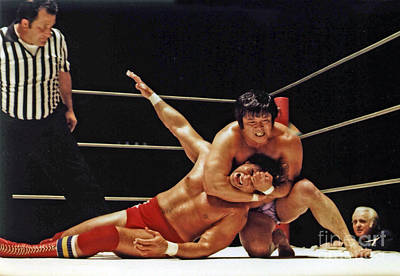 Photograph - Old School Wrestling Headlock By Dean Ho On Don Muraco by Jim Fitzpatrick