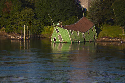 Photograph - Old Shack Sinking  by Roger Lewis