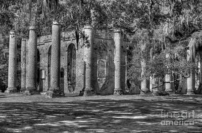 Old Sheldon Church Black And White Art Print