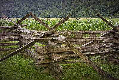 Split Rail Fence Photograph - Old Split Rail Fence On A Farm In The Smokey Mountains No.696 by Randall Nyhof