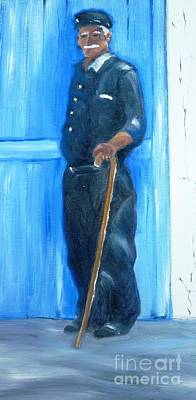 Cripple Painting - Old Sponge Diver by Therese Alcorn