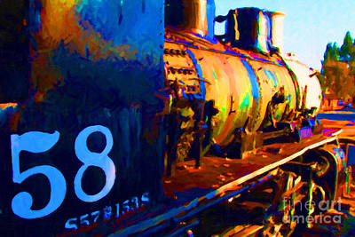 Old Steam Locomotive Engine 1258 . Painterly Print by Wingsdomain Art and Photography