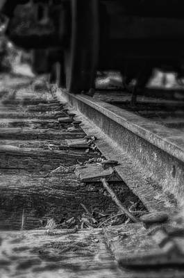 Photograph - Old Steel Railroad Tracks - Bw by Steve Hurt