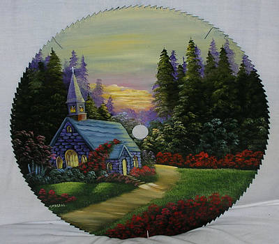 Saw Blades Painting - Old Stone Church by Darlene Prowell