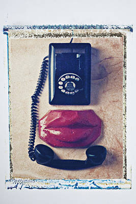 Old Telephone And Red Lips Art Print by Garry Gay