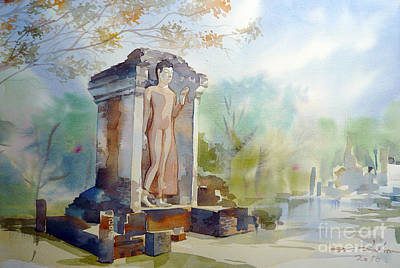 Painting - Old Temple Of Thailand by Chonkhet Phanwichien