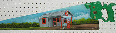 Saw Blades Painting - Old Texaco Station by Darlene Prowell