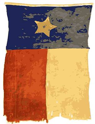Photograph - Old Texas Flag Color 16 by Scott Kelley