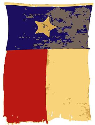 Heart Of Texas Digital Art - Old Texas Flag Color 6 by Scott Kelley