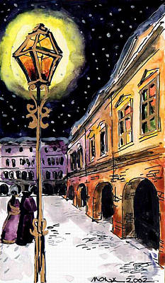 Architecture Painting - Old Time Evening by Mona Edulesco