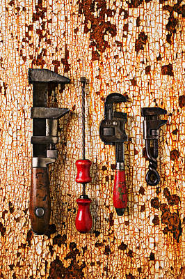 Old Tools On Rusty Counter  Art Print by Garry Gay