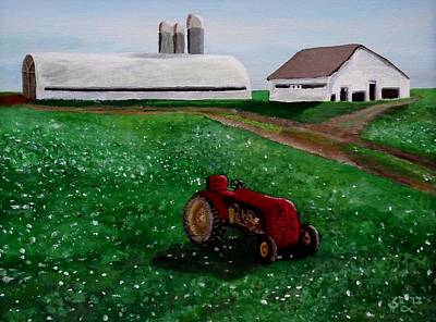 Old Farm Equipment Painting - Old Tractor On A Pennsylvania Farm by Spencer Hudon II