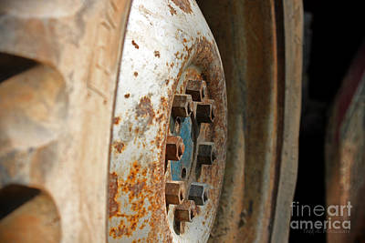 Photograph - Old Tractor Wheel by Todd Blanchard