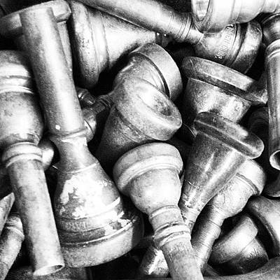 Old Wall Art - Photograph - Old Trumpet Mouthpieces 2 by Ken Powers