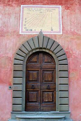 Old Tuscan Villa Door And Sundial Art Print by Mathew Lodge