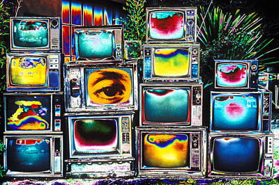 Old Tv's Abstract Art Print by Garry Gay