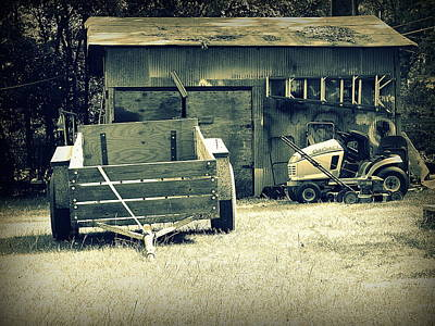 Art Print featuring the photograph Old Wagon And Old Shed by Ester  Rogers