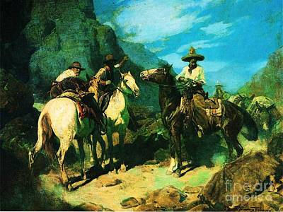 Painting - Old West Gun Play by Pg Reproductions
