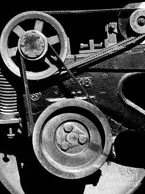 Old Western Pacific Caboose Train Wheel . 7d10626 . Black And White Art Print