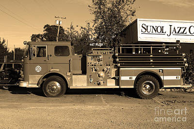 Photograph - Old Whitney Seagrave Fire Engine At The Sunol Jazz Cafe In Sunol California . 7d10785 . Sepia by Wingsdomain Art and Photography