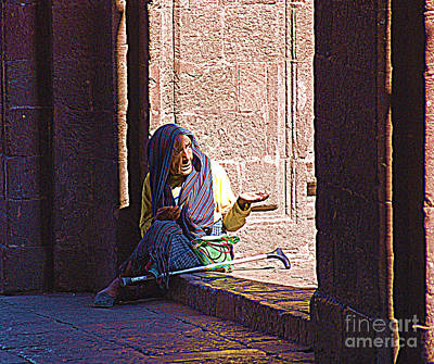Art Print featuring the digital art Old Woman In Centro by John  Kolenberg