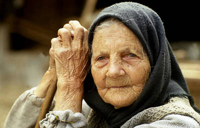 Old Woman In Vrancea Romania Art Print