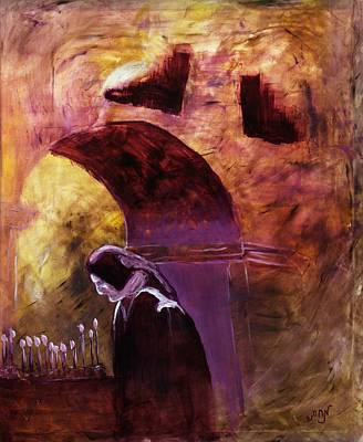 Art Print featuring the painting Old Woman Lighting Candles In Cathedral In Purple And Yellow  by MendyZ M Zimmerman