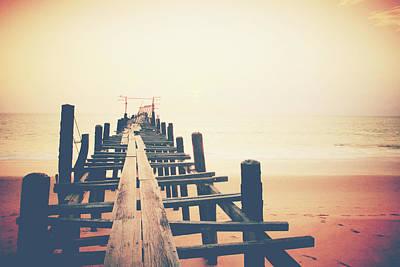 Old Wood Bridge To The Sea Print by Wanchai Yoosumran