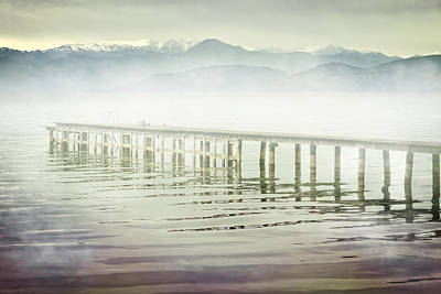 Old Wooden Bridge Into A Mountain Lake On A Foggy Morning Art Print