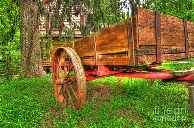 Green And Brown Photograph - Old Wooden Cart by Paul Ward