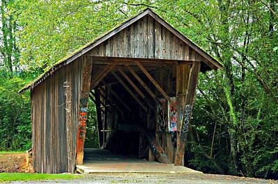 Old Wooden Covered Bridge Print by Susan Leggett