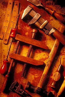 Hammer Photograph - Old Worn Tools by Garry Gay