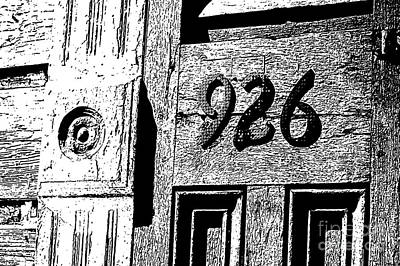 Digital Art - Old Worn Wooden Door And Numbers French Quarter New Orleans Black And White Stamp Digital Art by Shawn O'Brien